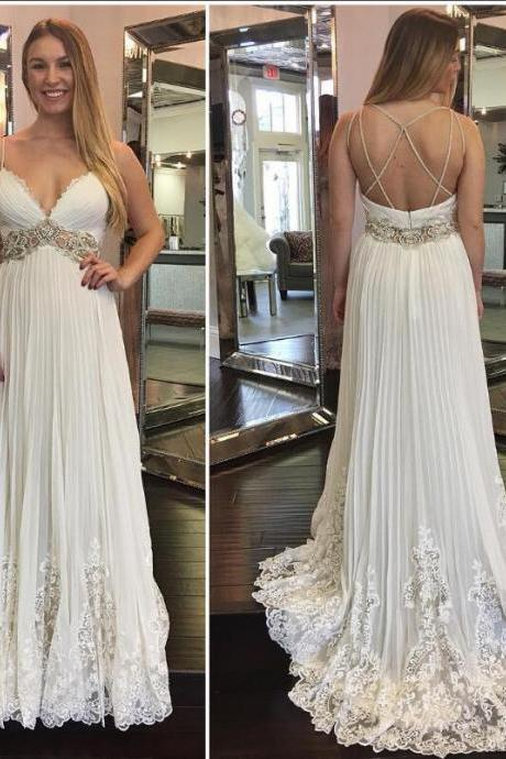 Lace Crystals 2018 Beach Wedding Dresses Spaghetti Backless A-line Chiffon Bridal Dresses Sexy Vintage Formal Party Gowns