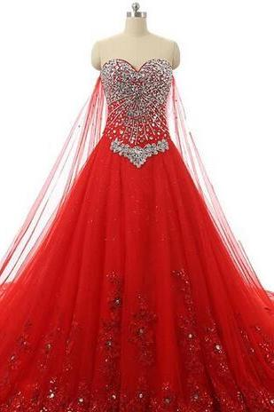 Wedding Dresses Red 2018 Robe De Mariee Princesse Luxury Crystals Ball Gown Wedding Dress