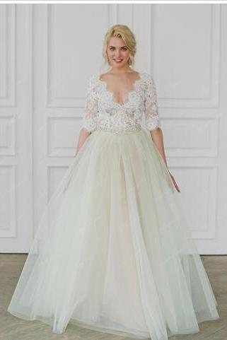 Ball Gown Beads Pearls Jewel Applique Luxurious Wedding Dresses Arabic Wedding Gowns Floor Length Short Sleeve