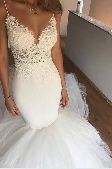 2018 Unique Mermaid Tulle Wedding Dresses Sexy Spaghetti Straps Lace Bodice Gorgeous Bridal Gowns