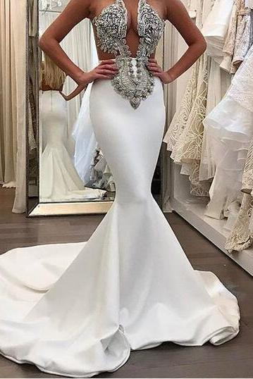 2018 Stunning Mermaid Satin Wedding Dresses Beading CrystalsGorgeous Bridal Gowns