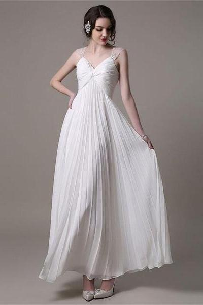 Sleeveless Twisted Ruched Pleated A-line Wedding Dress