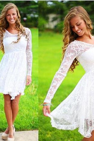 Short Country Wedding Dresses With Long Sleeves Knee Length Lace Wedding Gowns Short Beach Bridal Wedding Dress