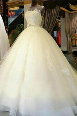 Gorgeous Custom Made 2018 Wedding Dresses Sheer Bateau Sleeveless Organza Lace Appliques Beading Bridal Gowns