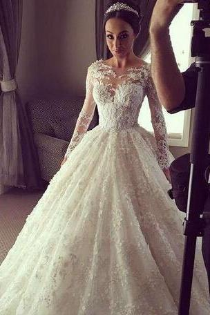 Spring Wedding Dresses Sheer Cheap lace long sleeved beaded lace illusion Vestido de noiva buttons Bridal Gowns Plus Size Custom made