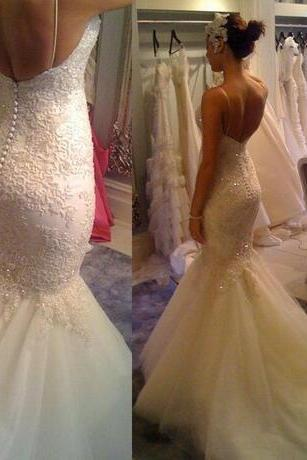 Vintage Beaded Lace Mermaid Wedding Dresses 2018 Spaghetti Straps Court Train Tulle Backless Bridal Gowns