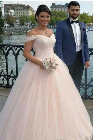 Custom-Made New Off-shoulder Wedding Dresses Bridal Gowns Applique Tulle and Lace