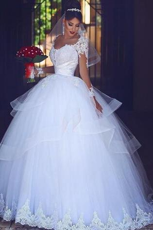 Ball Gown Wedding Dresses Sheer Sleeves Lace 3D-Floral Appliques Beaded Layers Skirt Bridal Gowns