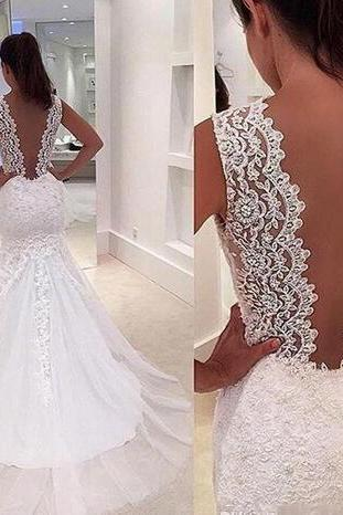 Romantic Mermaid Wedding Dresses Backless Lace Appliques 2017 Sweep Train Sexy Deep V Neck Country Style Wedding Dress Cheap Bridal Gowns