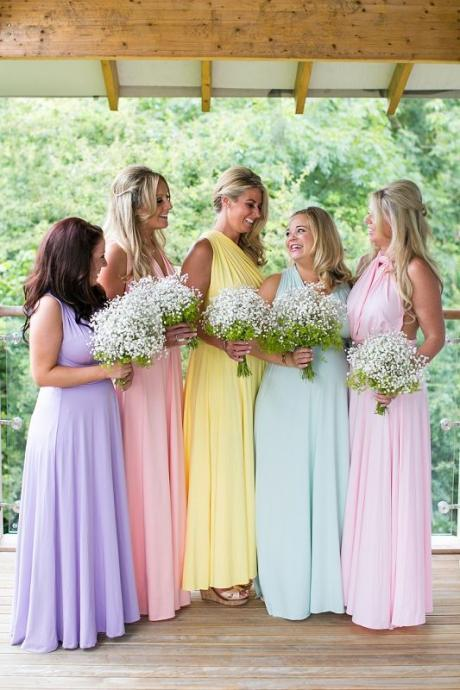 2018 Elegant Colorful Bridesmaid Dress, Long Bridesmaid Dresses, Chiffon Bridesmaid Dress