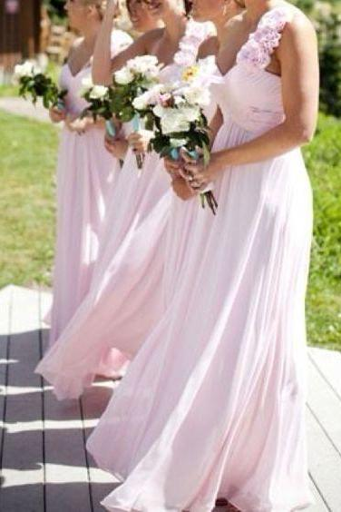2018 Light Pink Bridesmaid Dress, One Shoulder with Handmade Flowers Long Bridesmaid Dresses, Chiffon Bridesmaid Dress