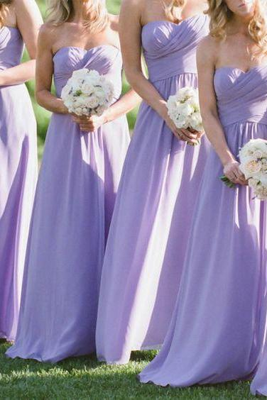 Lavender Strapless Sweetheart Ruched Chiffon A-line Floor-Length Bridesmaid Dress