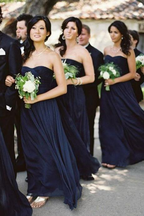 2018 Dark Navy Bridesmaid Dress, A-line Long Bridesmaid Dresses, Chiffon Bridesmaid Dress