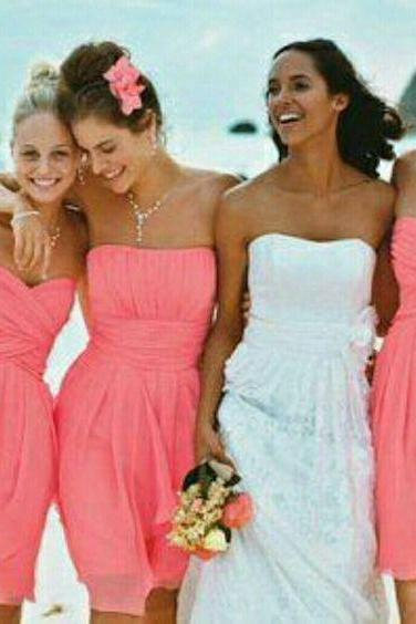 Custom Made Coral Pink Strapless Chiffon Short Bridesmaid Dress