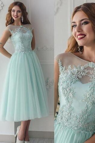 Lace Beaded 2018 Beach Bridesmaid Dresses Sheer Neck A-line Tea Length Maid Of Honor Dresses Mint Vintage Evening Party Dresses