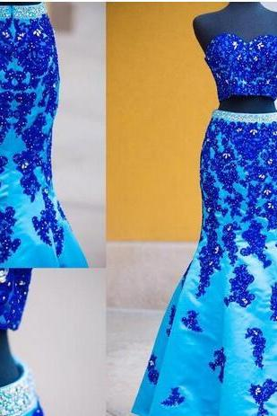 Blue Two Pieces 2018 Evening Dresses Sweetheart Beaded Applique Mermaid Satin Prom Dresses Sexy Formal Party Gowns