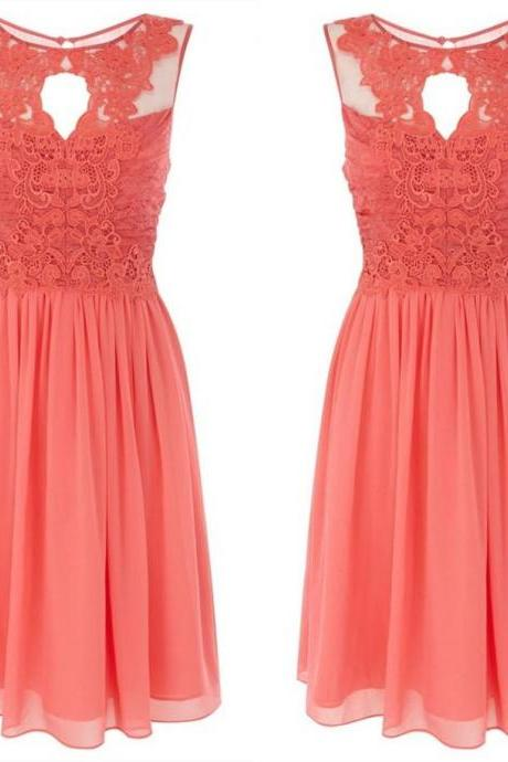 New Cheap simple Arrival Maid Of Honor Bridesmaid Dresses Formal Gown With Sheer Neckline Coral A-Line Lace And Chiffon