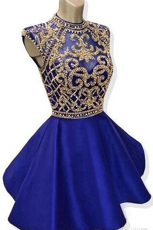 Sparkly Short Homecoming Dresses 2018 A-line High Neck Cap Sleeve Beaded Backless Royal Blue 8th Grade Graduation Dresses Prom Gowns