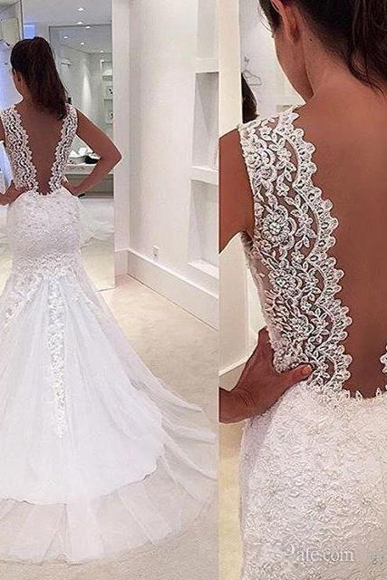 Gorgeous Mermaid Long White Lace Appliques Wedding Dress