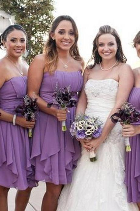 Custom Made Purple Short Chiffon Knee Length Bridesmaid Dress with Cascading Detail