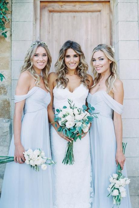 Off-the-shoulder Floor-Length Bridesmaid Dress in Light Blue