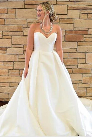 Simple Strapless Sweetheart Satin A-line Wedding Dress