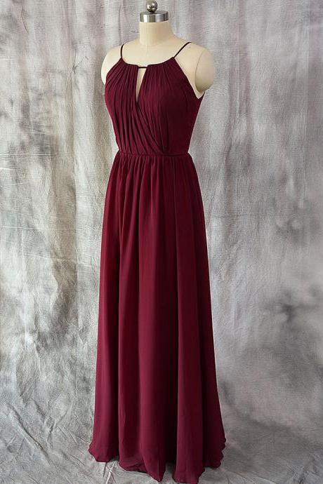 Simple A-line Spaghetti Straps Chiffon Burgundy Prom Dress Simple Burgundy Evening Dress