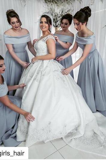 Ball Gown Bridesmaid Dresses, Off the Shoulder Bridesmaid Gowns