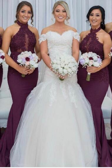 Purple Bridesmaid Dresses, High Neck Bridesmaid Gowns, Lace Prom Dress