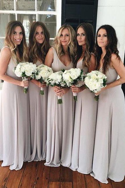 Simply A-line V Neck Long Bridesmaid Dress wish Sash, Woman Maxi Dresses, Long Chiffon Bridesmaid Dresses, Cheap Bridesmaid Dresses