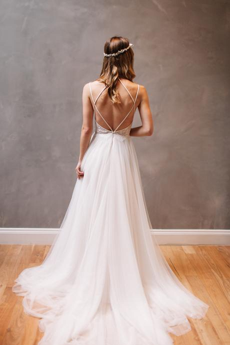 Sexy Backless Wedding Dress, Beautiful Backless Wedding Dresses and Gowns, Strappy Back, Lace and Tulle Wedding Dress, Wedding Dress, A-line Wedding Dress