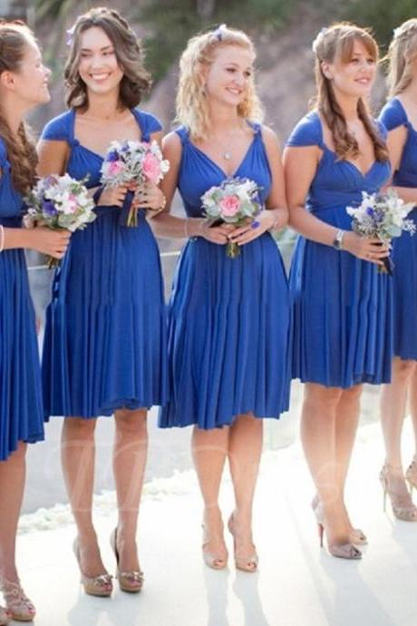 V-Neck Draped Spandex Knee-Length Short Bridesmaid Dress