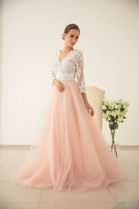 Tulle wedding dress, Pink wedding dress, V-neck wedding dress, Pink bridesmaid dresses, Bridesmaid dress, Lace dress