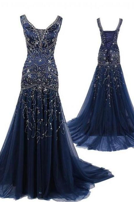 Dark Nay Prom Dresses, Long Prom Dresses, 2017 Prom Dress, Mermaid Prom Dress