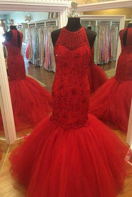 Red Prom Dresses,Prom Dress,Red Prom Gown,Tulle Prom Gowns,Elegant Evening Dress,Modest Evening Gowns,Simple Party Gowns,Tulle Prom Dress