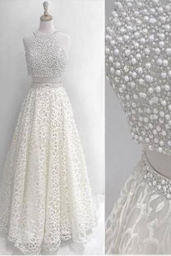 White two pieces prom dress, pearl long formal prom dress, lace evening dress