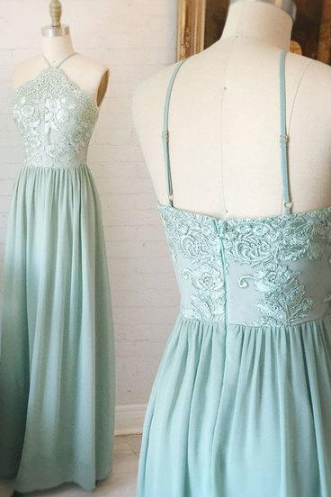 Simple A-Line Prom Dress, Halter Floor-Length Prom Dress, Chiffon Prom Dress with Appliques