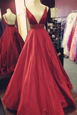 Backless red prom dress, A-line long formal dress, v neck stain prom dress