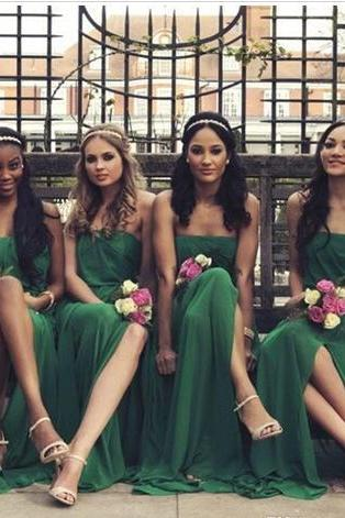 New Green Elegant Strapless Chiffon Bridesmaid Dresses 2018 Special Design Side Split Maid of Honor Gowns Wedding Girls Wear