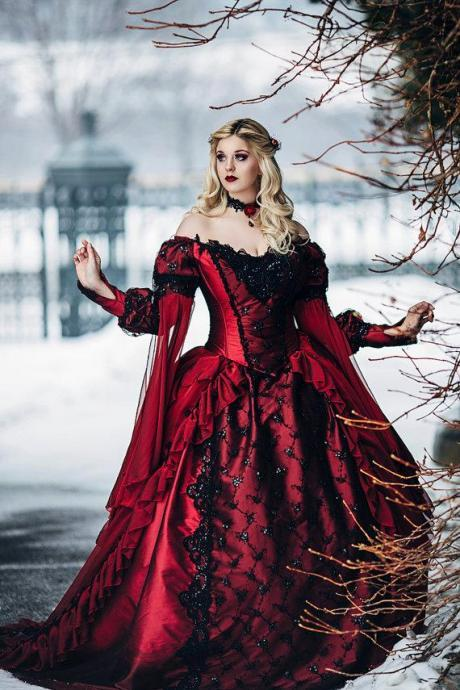 Gothic Sleeping Beauty Princess Medieval Red and Black Ball Gown Wedding Dress Long Sleeve Lace Appliques Victorian Bridal Gowns