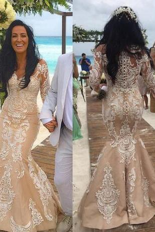 Champagne Luxury New Beach Mermaid Wedding Dresses Custom Made Lace Appliques Long Sleeves Robe De Mariage Button Back Bridal Gowns