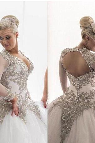 Modest Long Sleeves Wedding Dresses Rhinestones Crystals Beaded Bridal Gowns Backless Sheer Ball Gown Wedding Dresses Plus Size