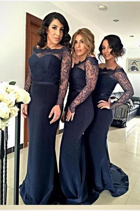 Vestido de Festa Mermaid Style Navy Blue Bridesmaid Dresses Scoop Neck Sheer Lace Long Sleeve Prom Gowns