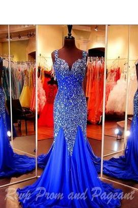 Prom Dresses Royal Blue Pageant Dress Cap Sleeves Open Back Sweetheart Neckline Mermaid Evening Gowns Crystal Beaded