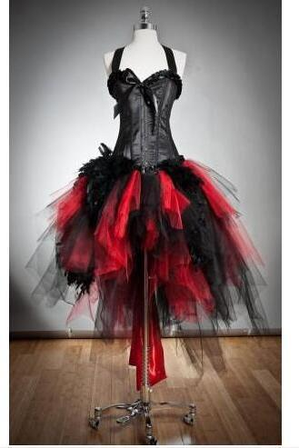 Gothic Red and Black Corset Prom Dresses Custom Size Feather and Tulle Burlesque Hi Lo Party Dress with Halter Neck 2018 Evening Gowns