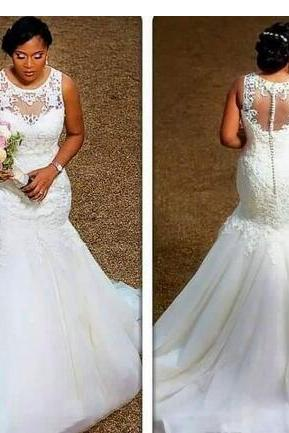 Elegant Mermaid Wedding Dresses Sheer Neck Appliques Lace Tulle Plus Size Wedding Dresses Cheap Bridal Gowns Illusion Back