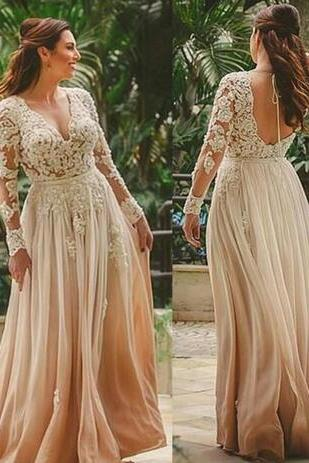 Beauty Boho Beach Long Wedding Dress A-Line Floor Length Bridal Gown Beach Indian Style Backless Lace Vestido de novia Sexy Deep V Neck