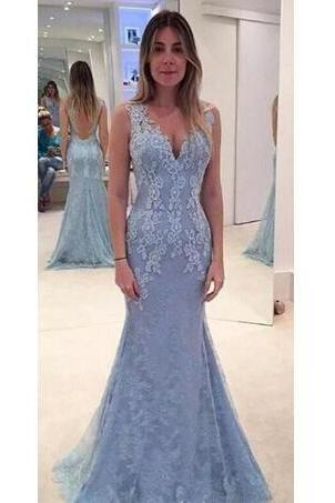 2018 New Prom Dresses V Neck Light Sky Blue Mermaid Long Lace Appliques Beaded Open Back Formal Party Dress Pageant Evening Gowns
