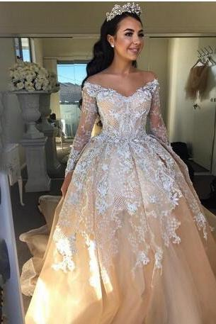 Champagne Ball Gown Arabic Wedding Dresses Sexy Off Shoulder Long Sleeves Wedding Gowns Luxury Crystal Beaded Applique Lace Bridal Dress