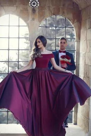A Line Off The Shoulder Sequins African Satin Evening Dresses elegant Dark Red Floor Length Women Party Prom Gowns With Beaded Sash